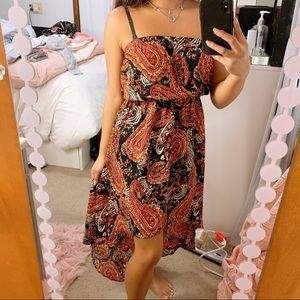 Red Paisley High Low Dress